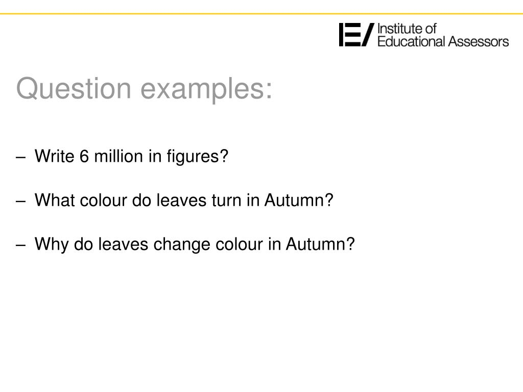 Question examples: