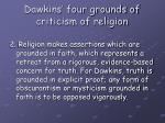 dawkins four grounds of criticism of religion4