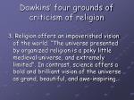 dawkins four grounds of criticism of religion5