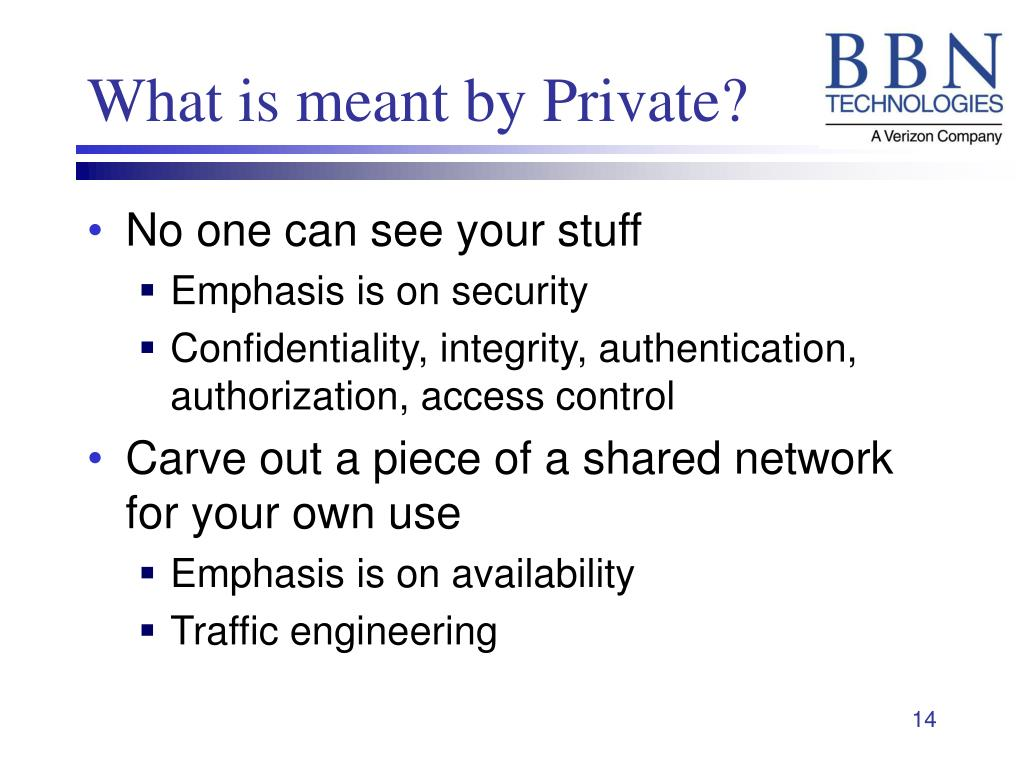 What is meant by Private?