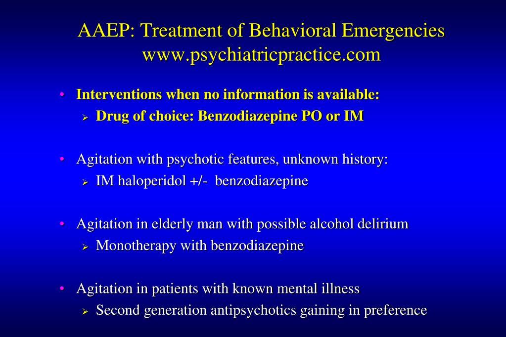 AAEP: Treatment of Behavioral Emergencies