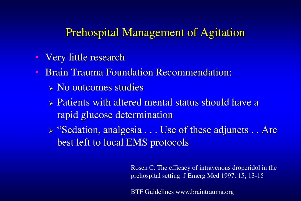 Prehospital Management of Agitation
