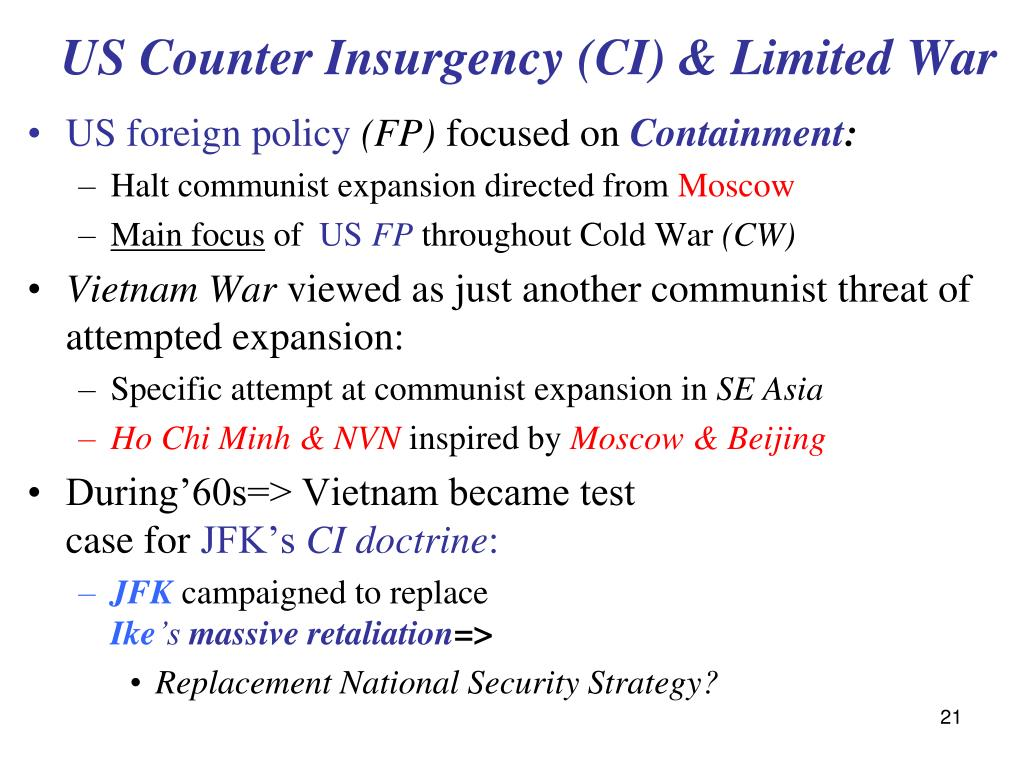 US Counter Insurgency (CI) & Limited War