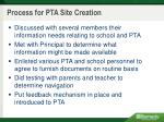 process for pta site creation