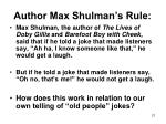 author max shulman s rule