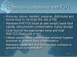 criteria for compliance with f371