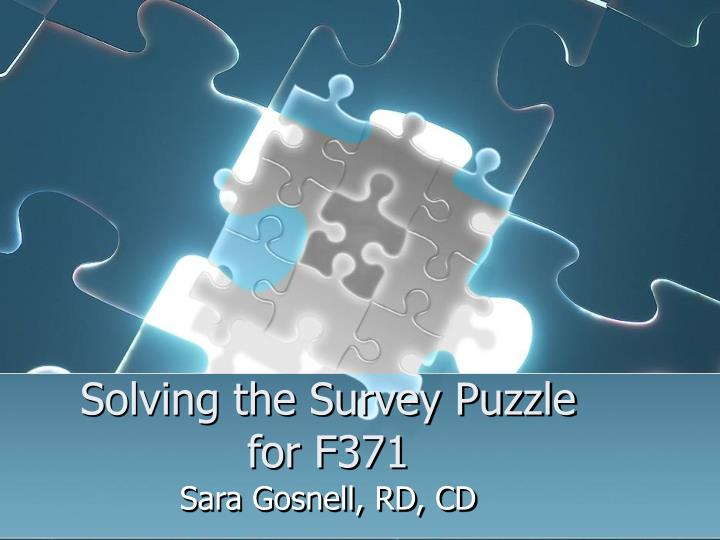 solving the survey puzzle for f371 n.