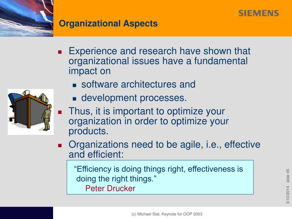 Organizational Aspects