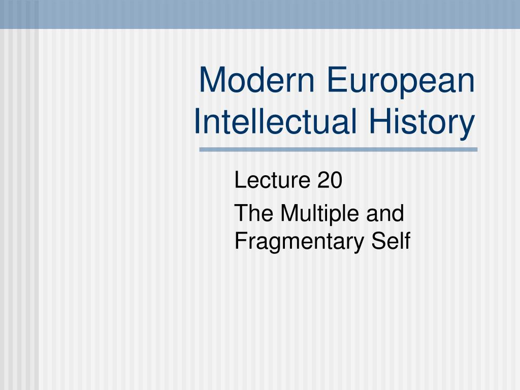 modern european intellectual history l.