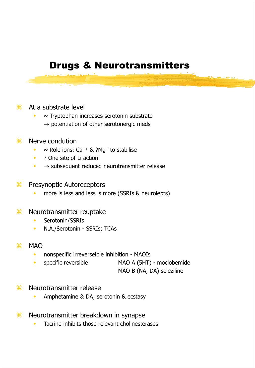 drugs neurotransmitters l.