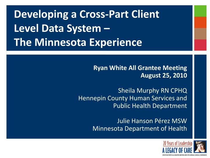 Developing a cross part client level data system the minnesota experience