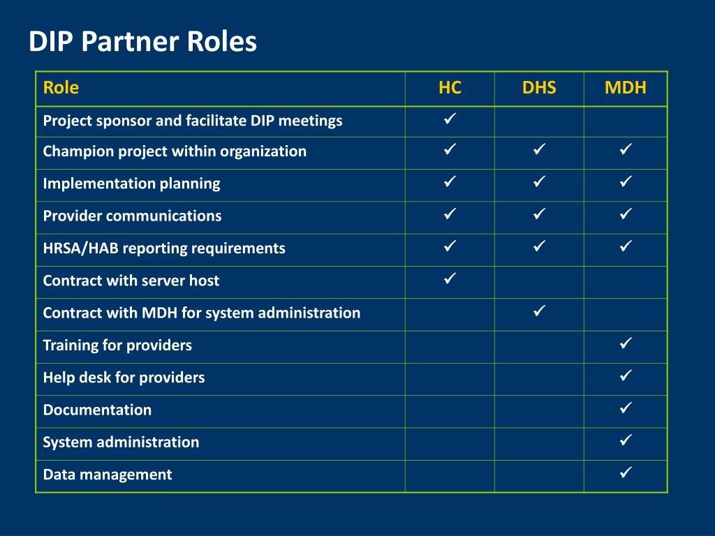DIP Partner Roles