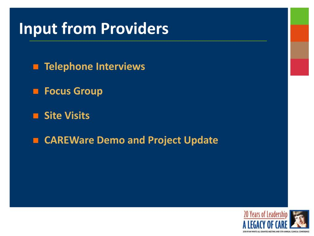 Input from Providers
