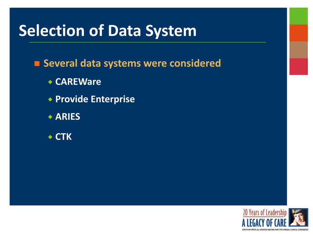 Several data systems were considered