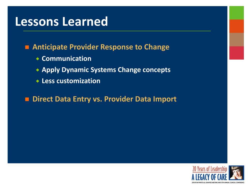 Anticipate Provider Response to Change