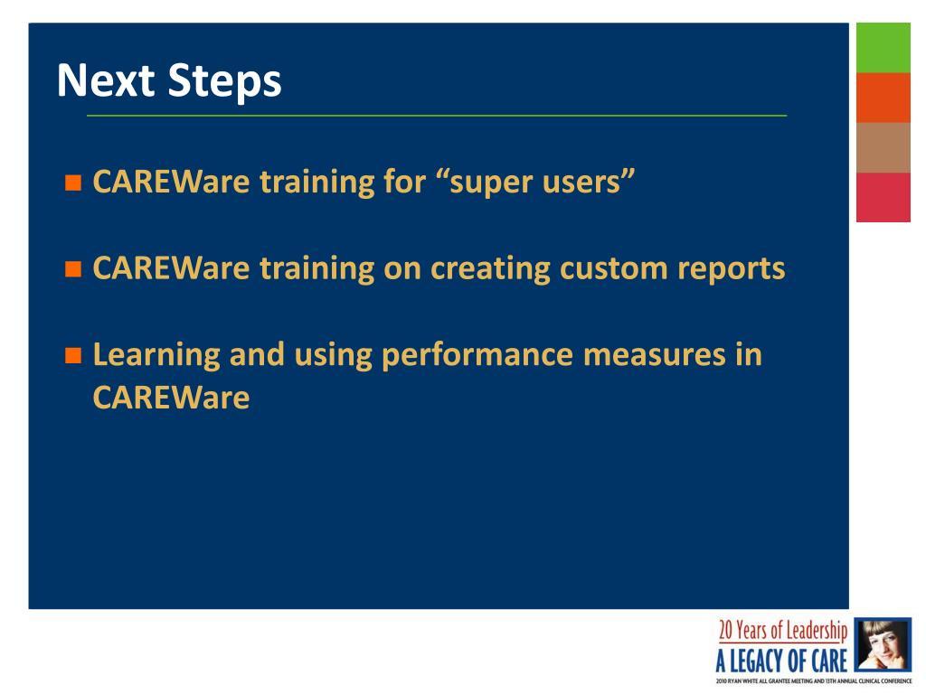 "CAREWare training for ""super users"""