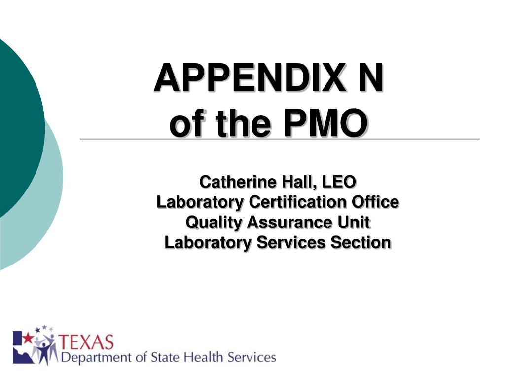 appendix n of the pmo l.