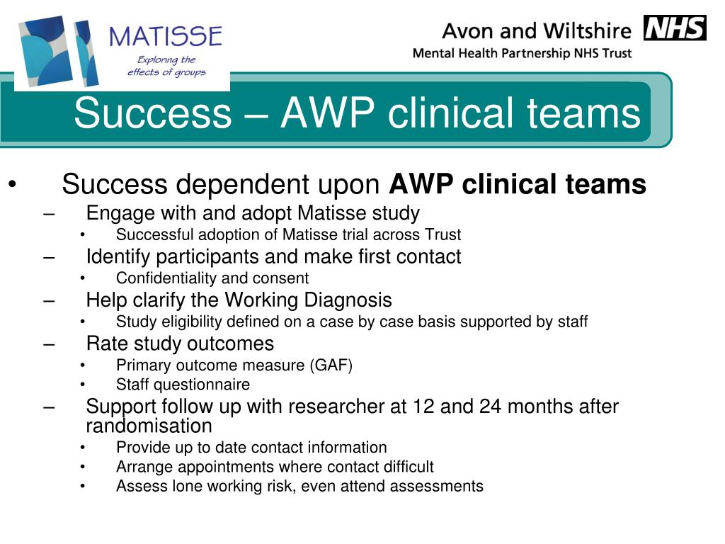 Success – AWP clinical teams