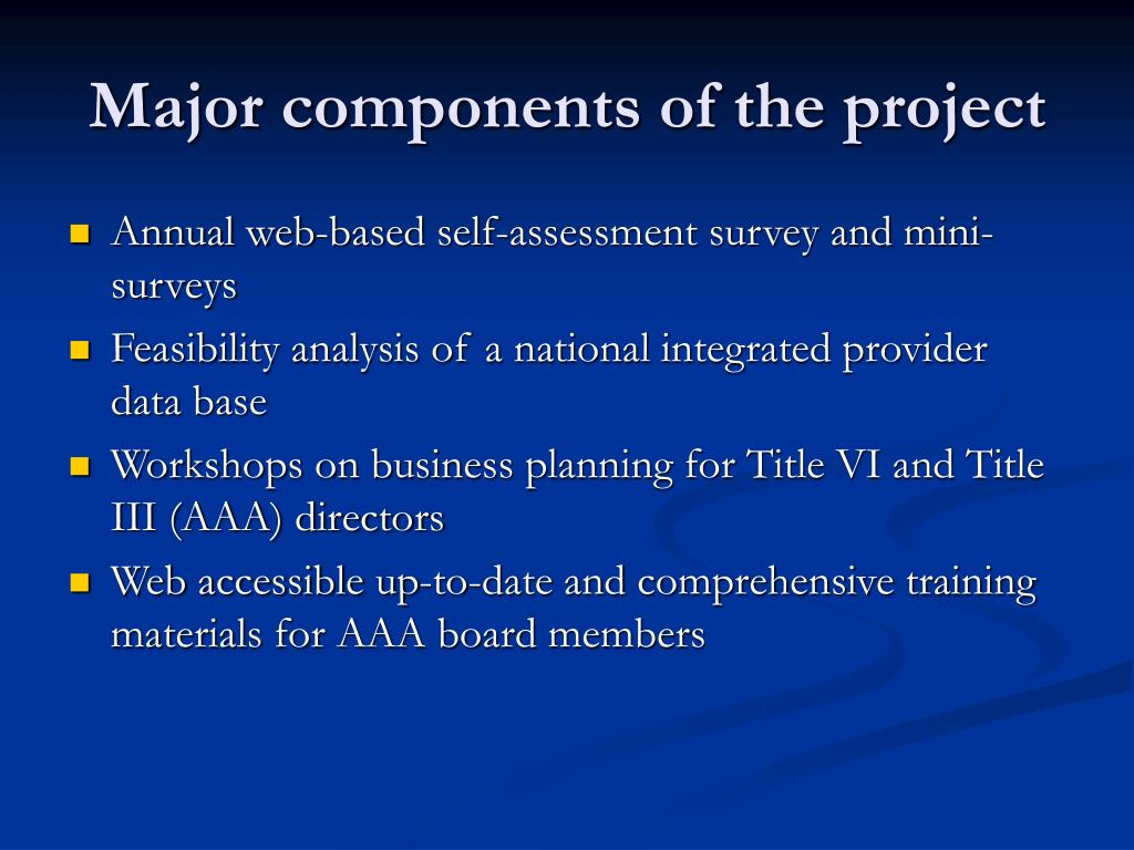 Major components of the project