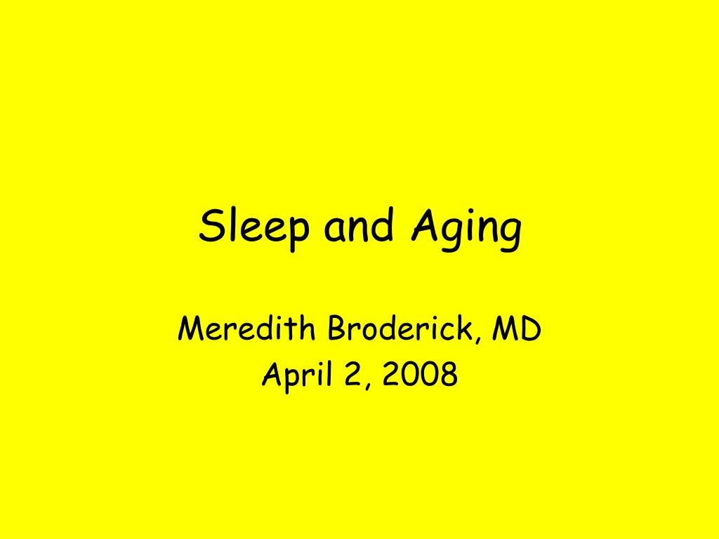 sleep and aging l.