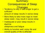 summary consequences of sleep changes