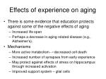effects of experience on aging