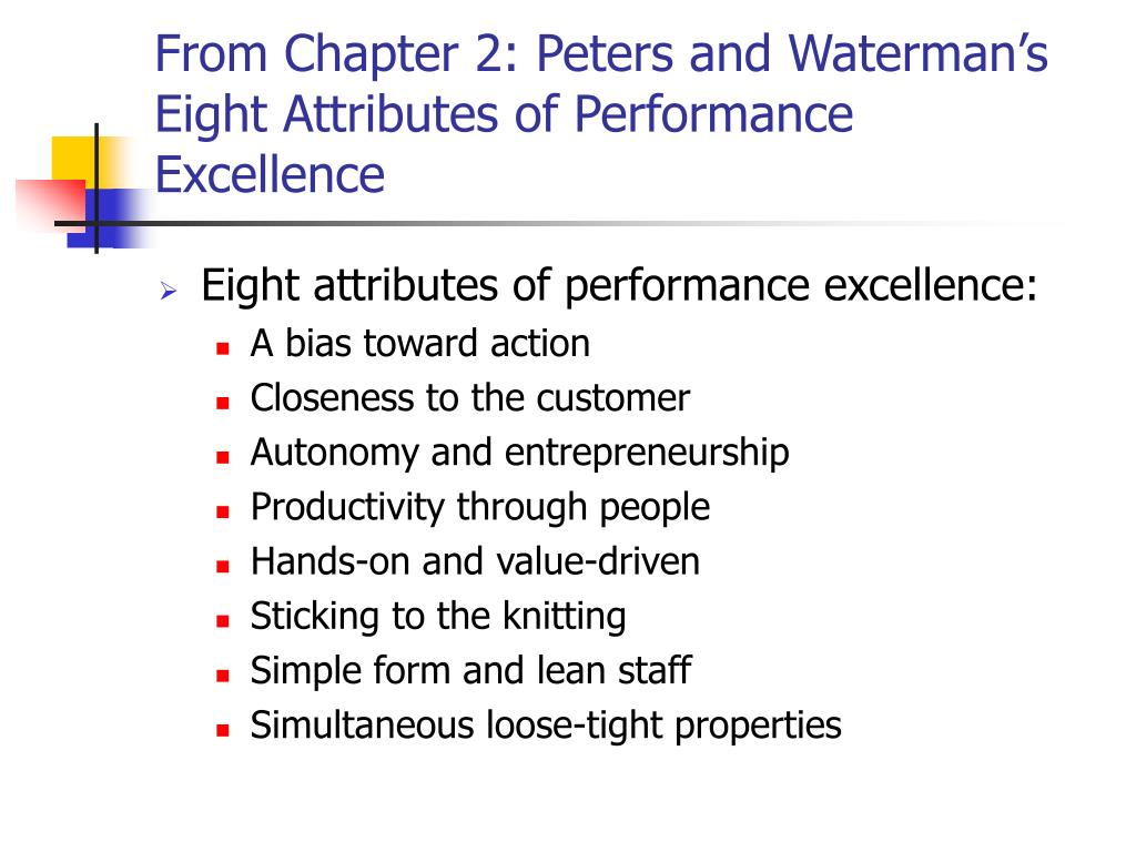 peters and watermans eight attributes of excellence essay Full text of monthly bulletin of books added to the public library of the city of boston see other formats.