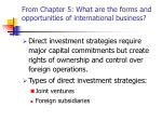from chapter 5 what are the forms and opportunities of international business17
