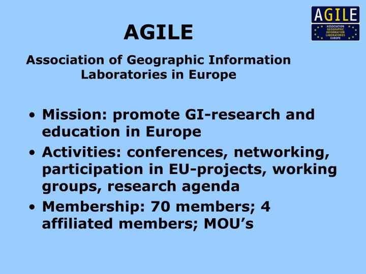 Agile association of geographic information laboratories in europe
