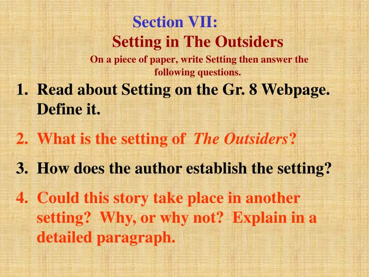 what is the setting of the outsiders