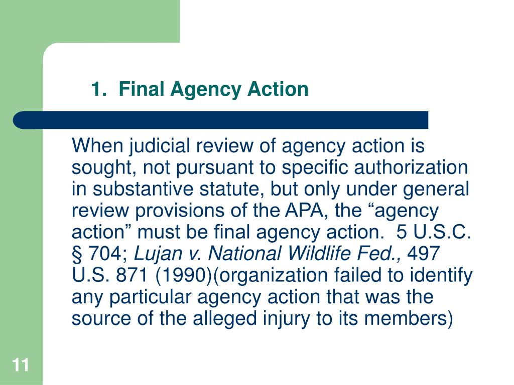 1.  Final Agency Action
