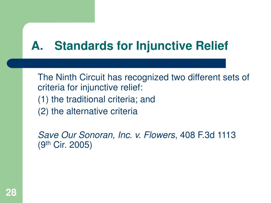 A.	Standards for Injunctive Relief