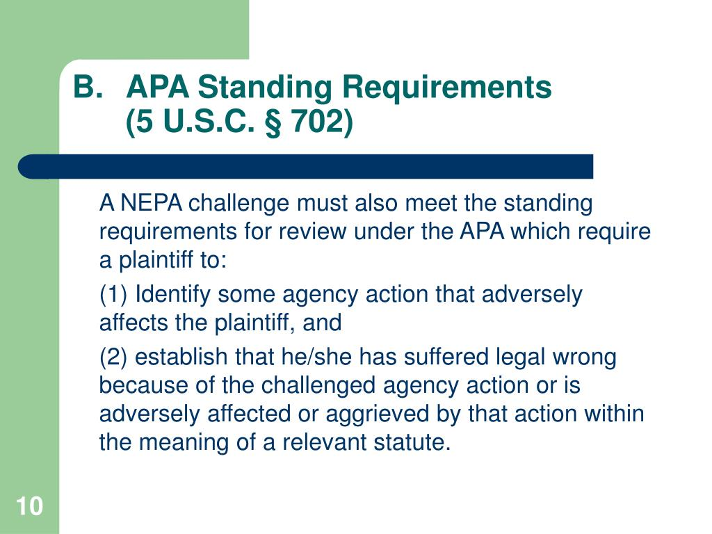 APA Standing Requirements