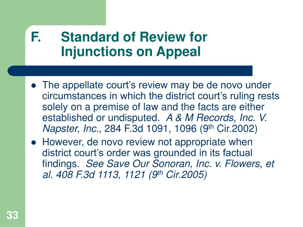 F.	Standard of Review for 	Injunctions on Appeal