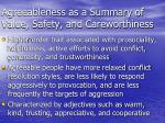 agreeableness as a summary of value safety and careworthiness