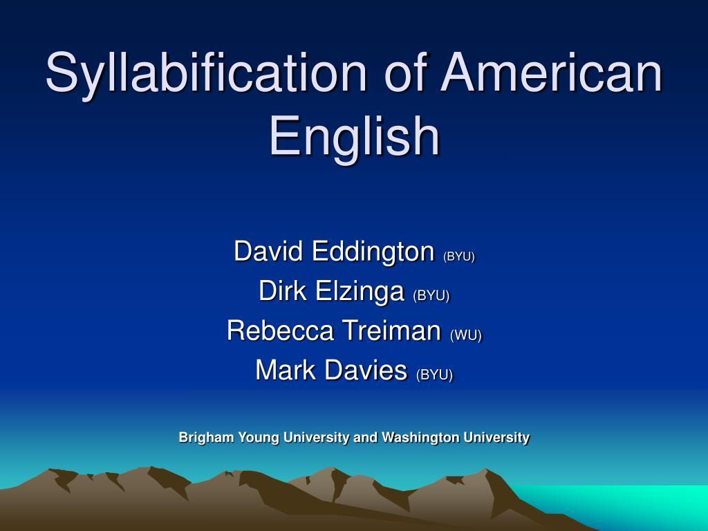 syllabification of american english l.