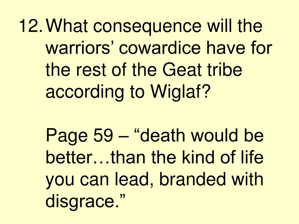 What consequence will the warriors' cowardice have for the rest of the Geat tribe according to Wiglaf?