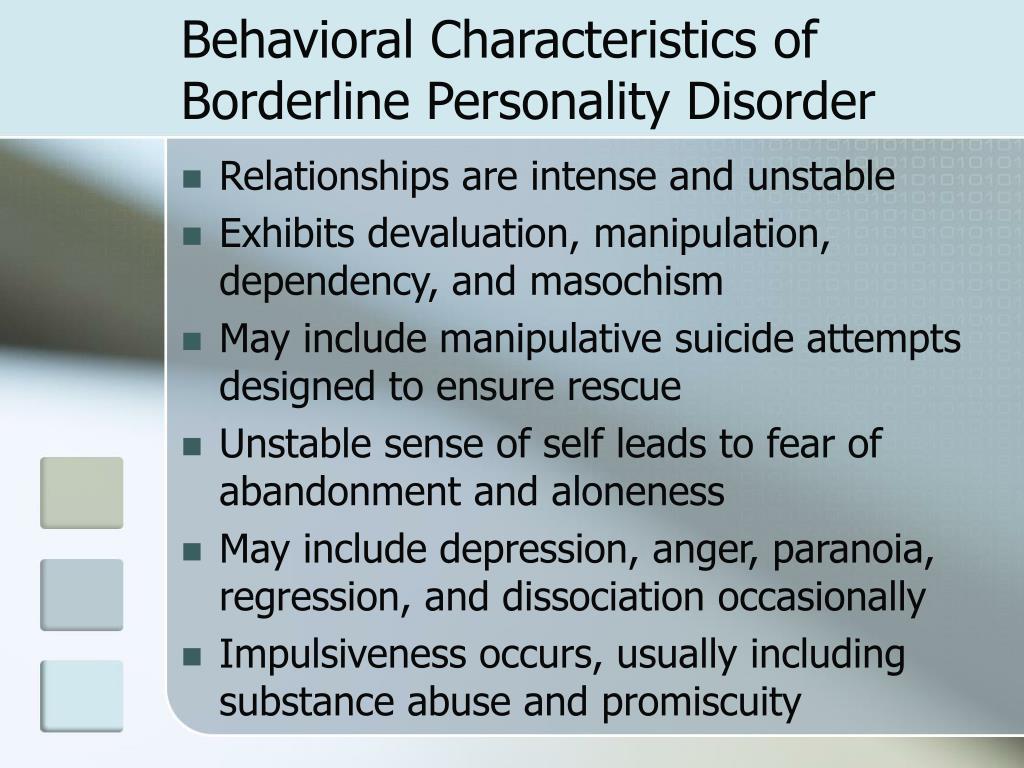 Behavioral Characteristics of Borderline Personality Disorder