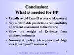 conclusion what is needed for pp