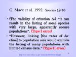 g mace et al 1992 species 19 16