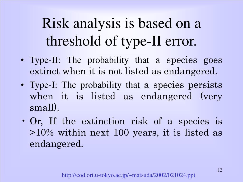 Risk analysis is based on a threshold of type-II error.