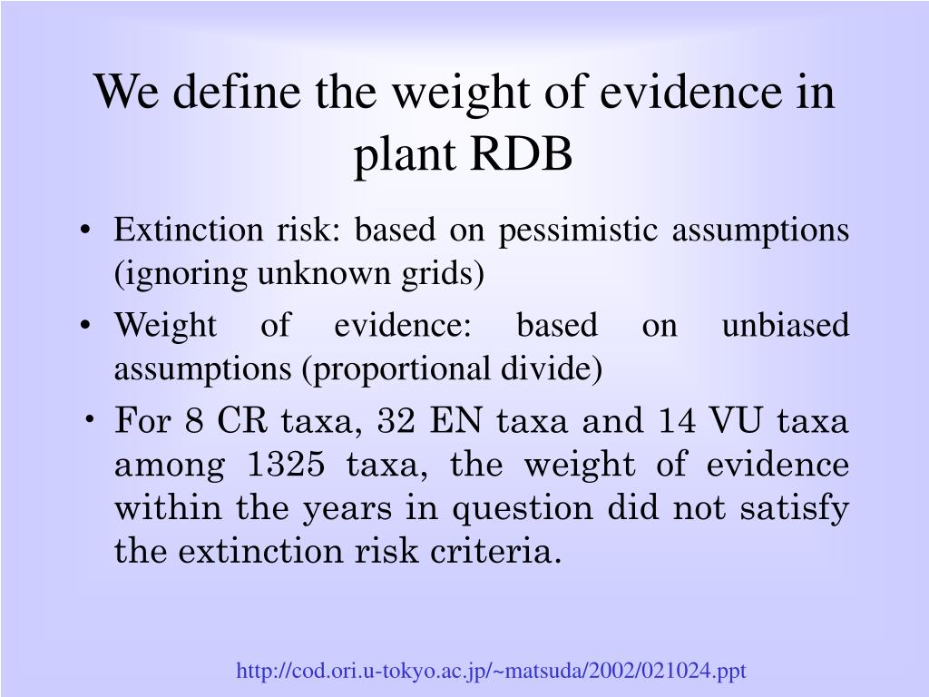 We define the weight of evidence in plant RDB