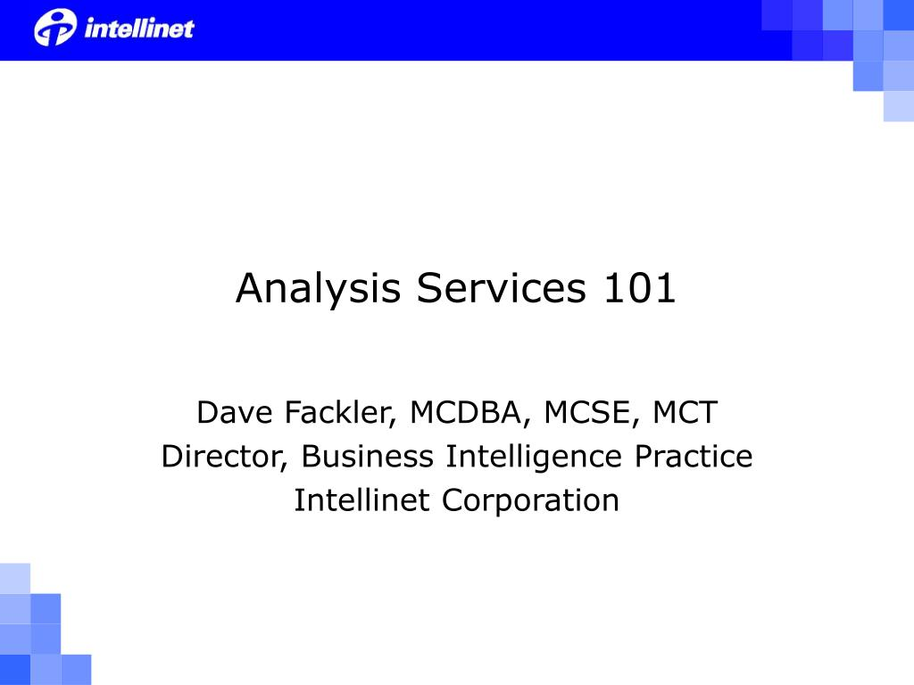 analysis services 101 l.