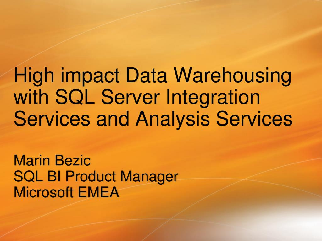 high impact data warehousing with sql server integration services and analysis services l.