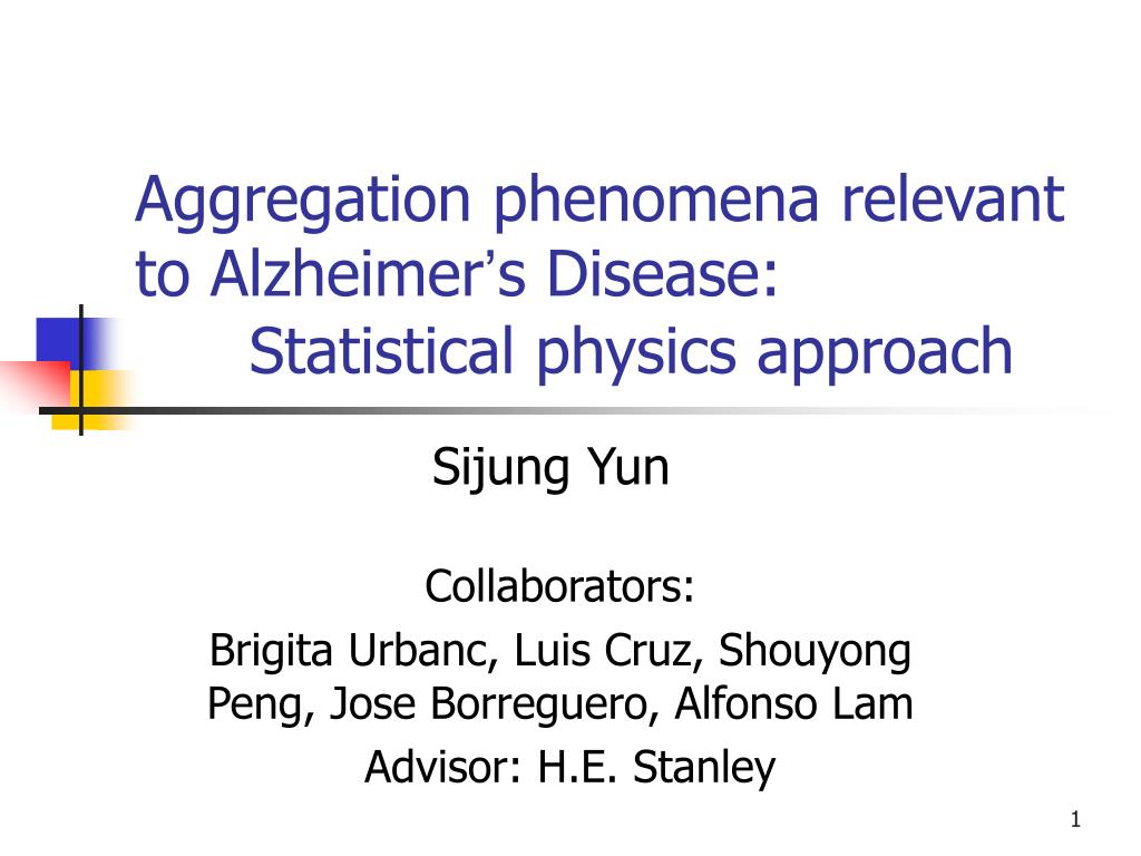 aggregation phenomena relevant to alzheimer s disease statistical physics approach l.