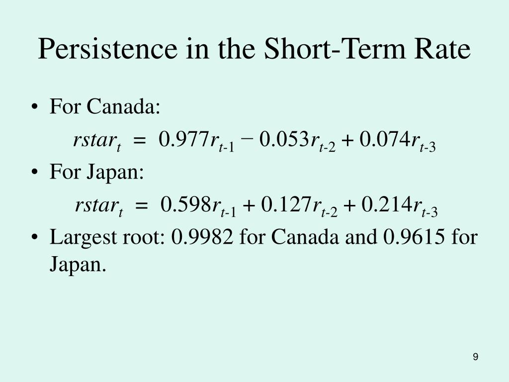 Persistence in the Short-Term Rate