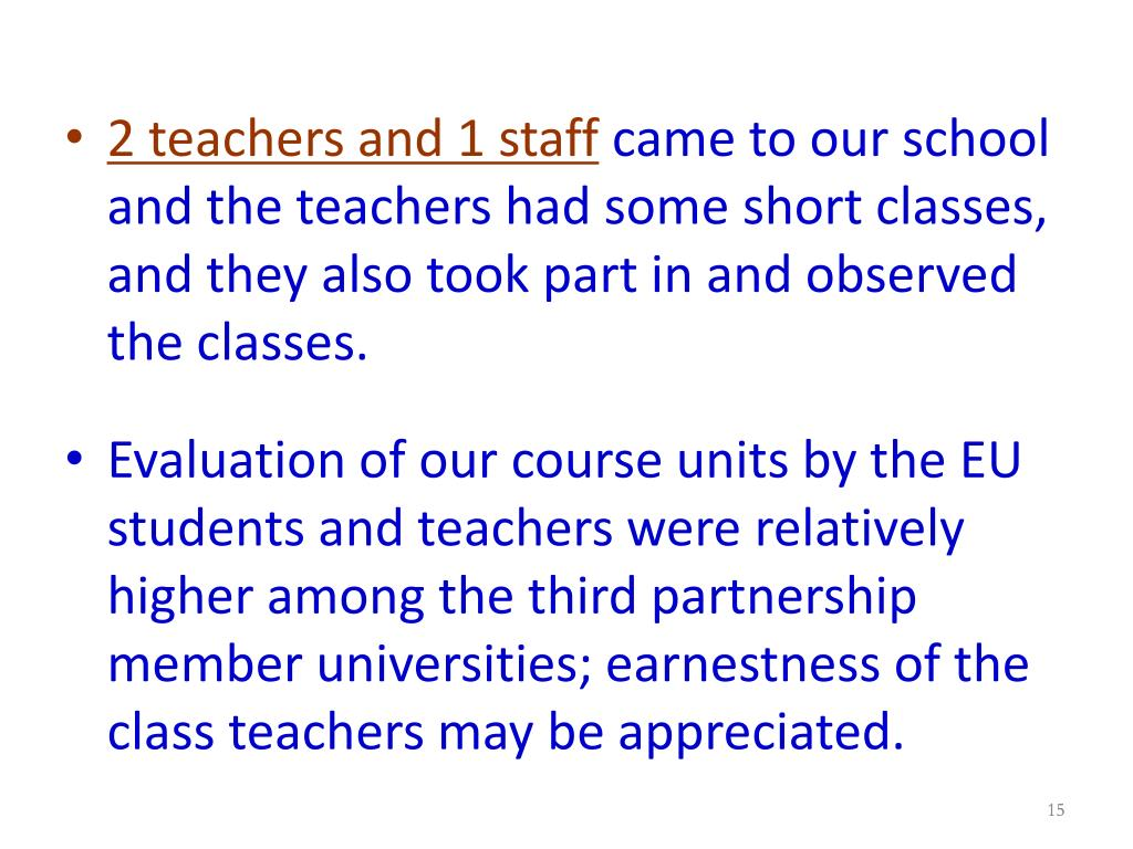 2 teachers and 1 staff