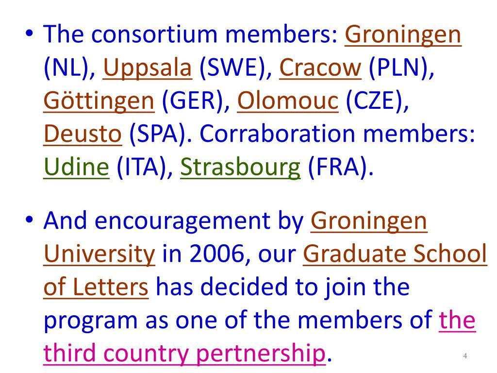 The consortium members: