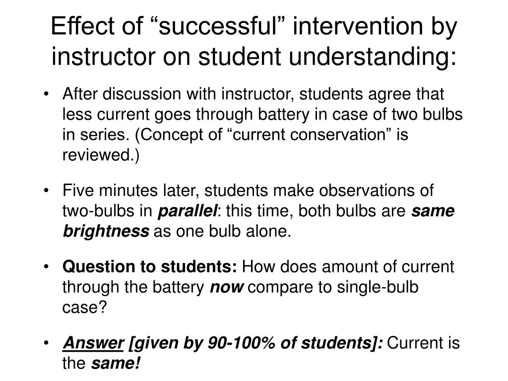 """Effect of """"successful"""" intervention by instructor on student understanding:"""
