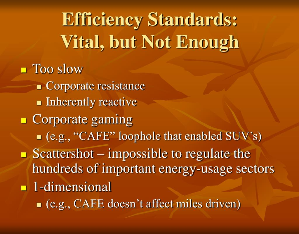 Efficiency Standards: